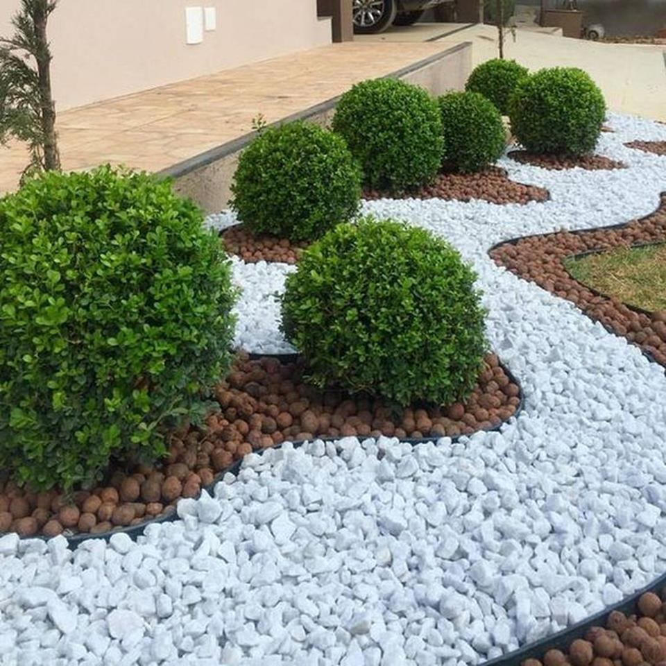 Excited Front Yard Landscaping Ideas with White Rocks ... on Backyard Pebbles Design id=57278