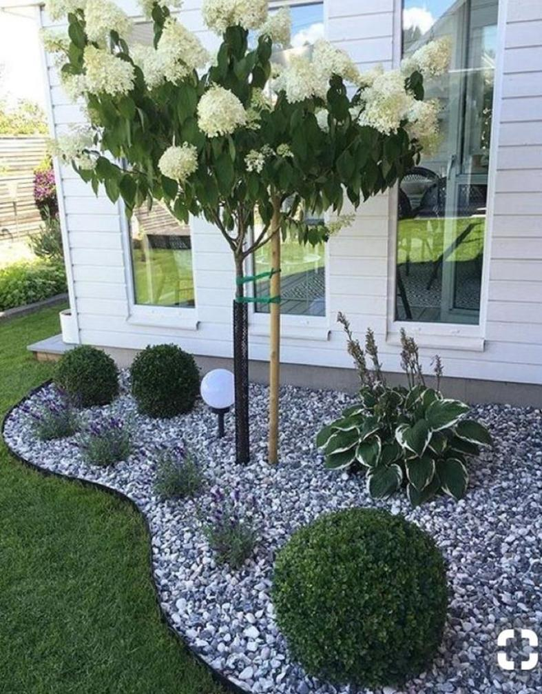 Front Yard Landscaping Ideas with White Rocks 8