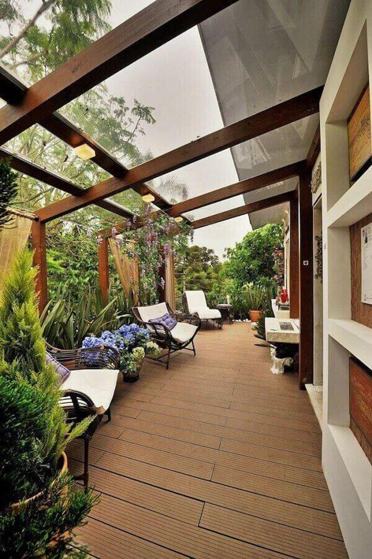 Cozy and Gorgeous Patio Roof with Pergola Glass 18