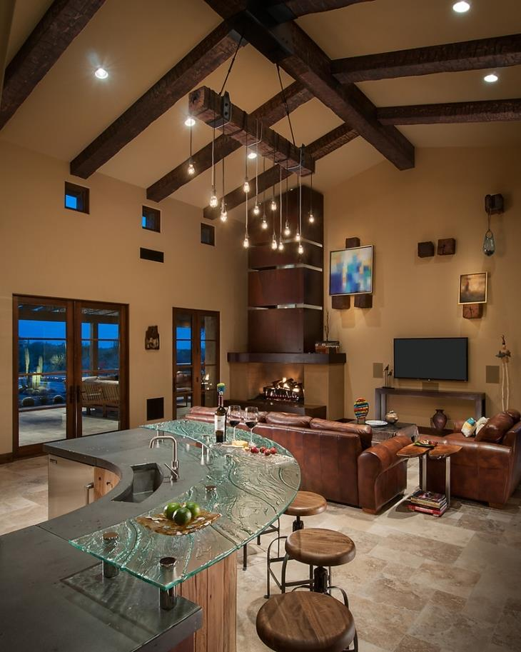 Lovely Family Room Wood Ceiling Design 22