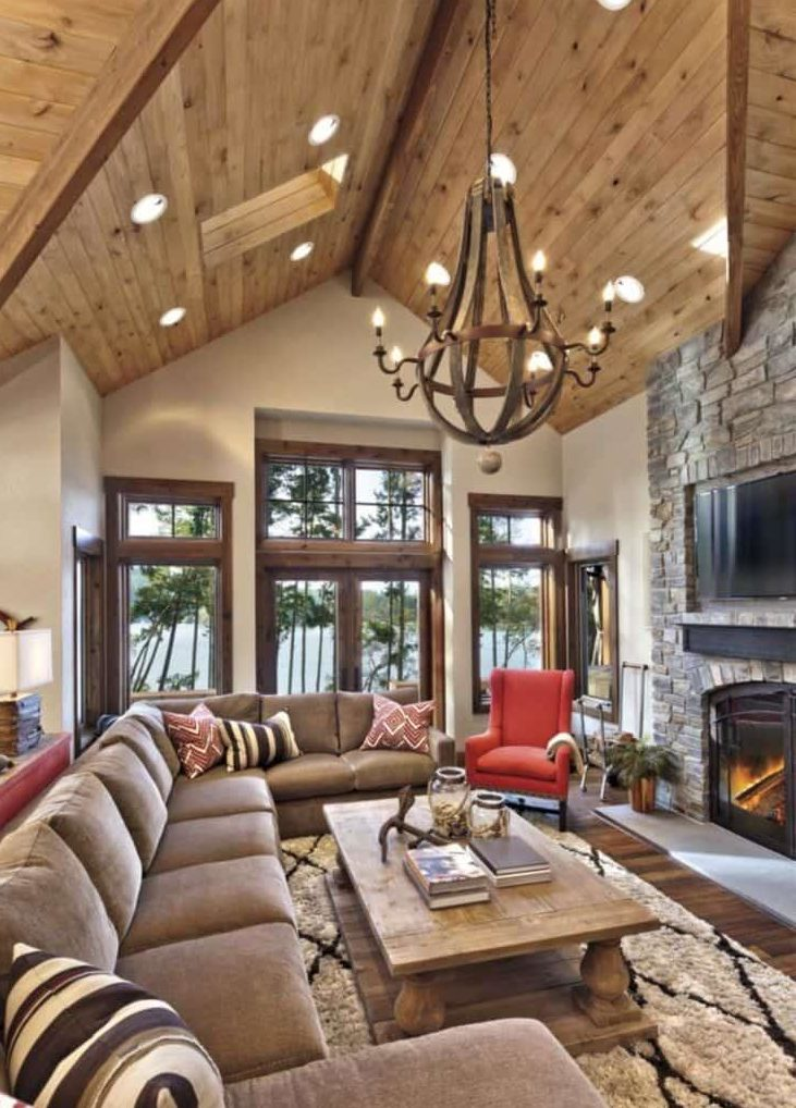 Lovely Family Room Wood Ceiling Design 26