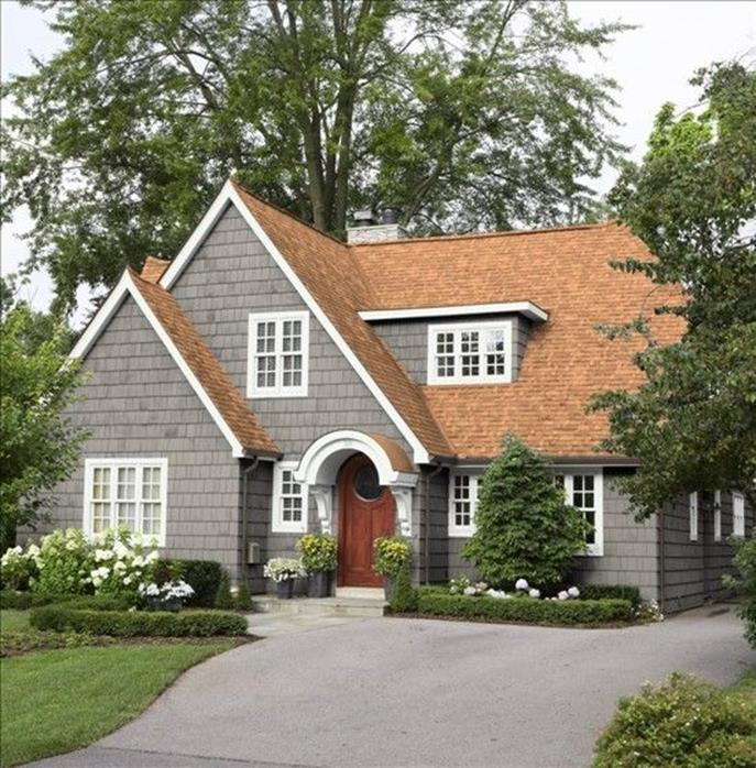 Stunning Exterior House With Brown Roof Colors 6