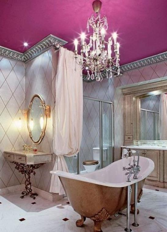 Beautiful Bathroom with Crystal Chandelier 13