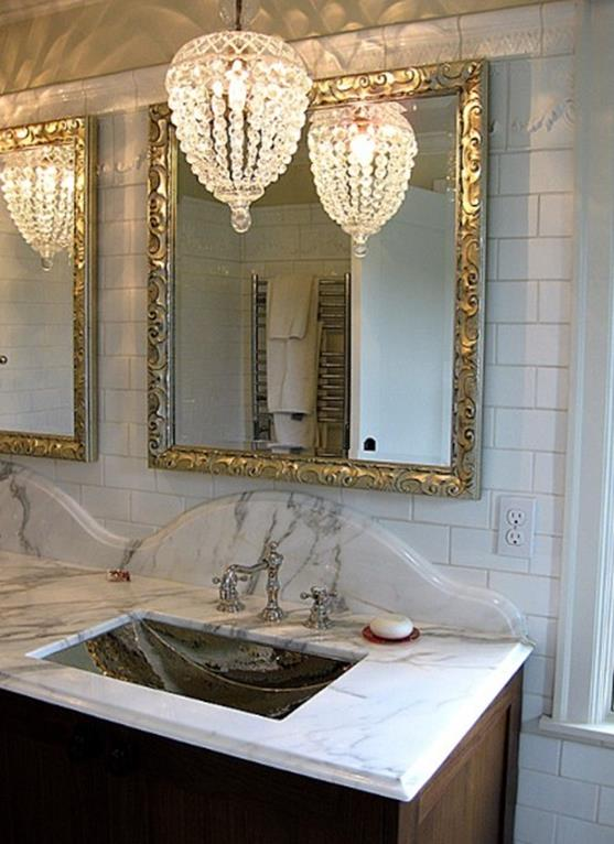 Beautiful Bathroom with Crystal Chandelier 5
