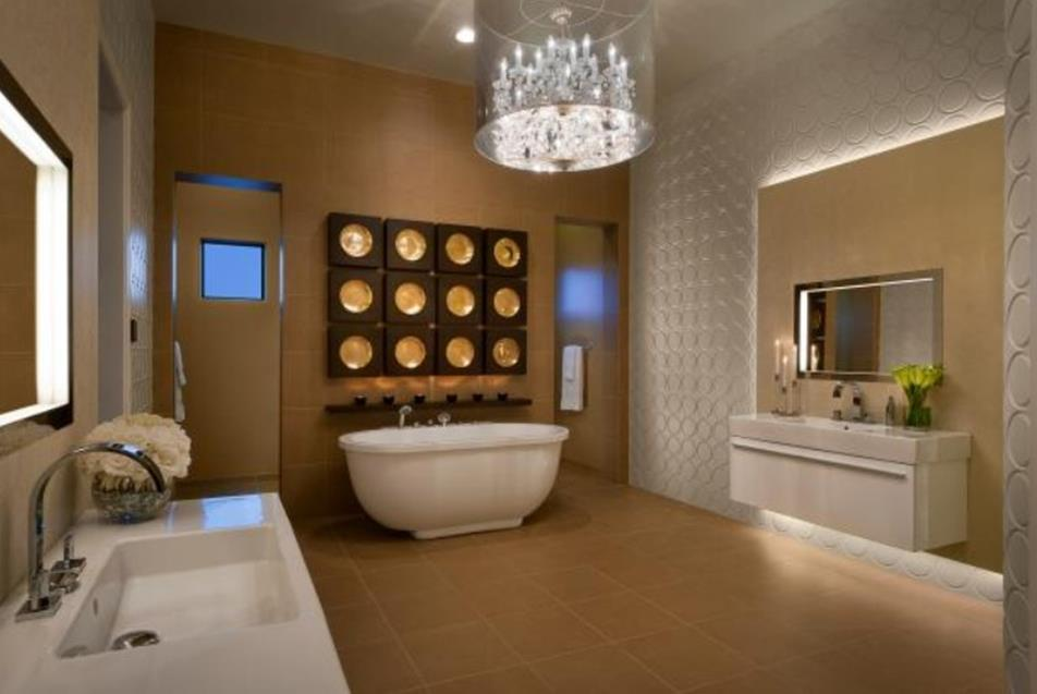 Beautiful Bathroom with Crystal Chandelier 8