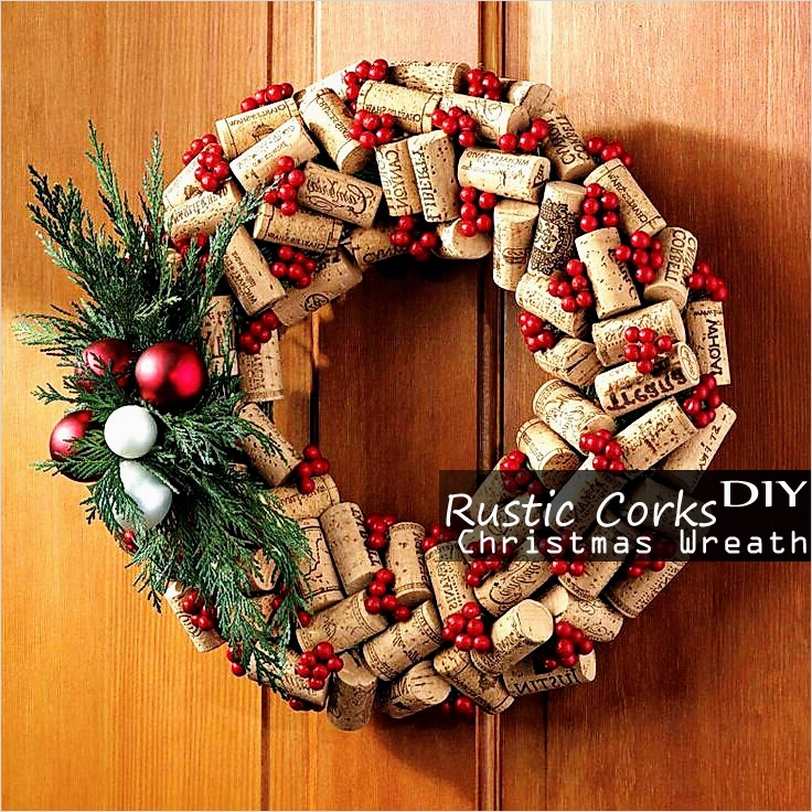 45 Diy Rustic Christmas Decorations 98 Rustic Cork Christmas Wreath – Easy & Cool Homemade Diy Decor Kid Craft Ideas Bored Fast Food 5