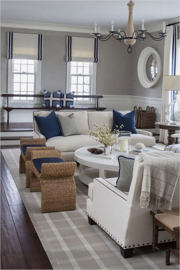 41 Amazing Navy Blue and White Living Room 56 Pretty Grey Navy Nautical themed Room so Pretty Gorgeous Rooms & Houses Pinterest 3