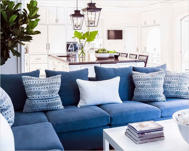 41 Amazing Navy Blue and White Living Room 19 Family Room with Navy Blue Sectional with Blue and White Pillows J K Kling associates Interior 2