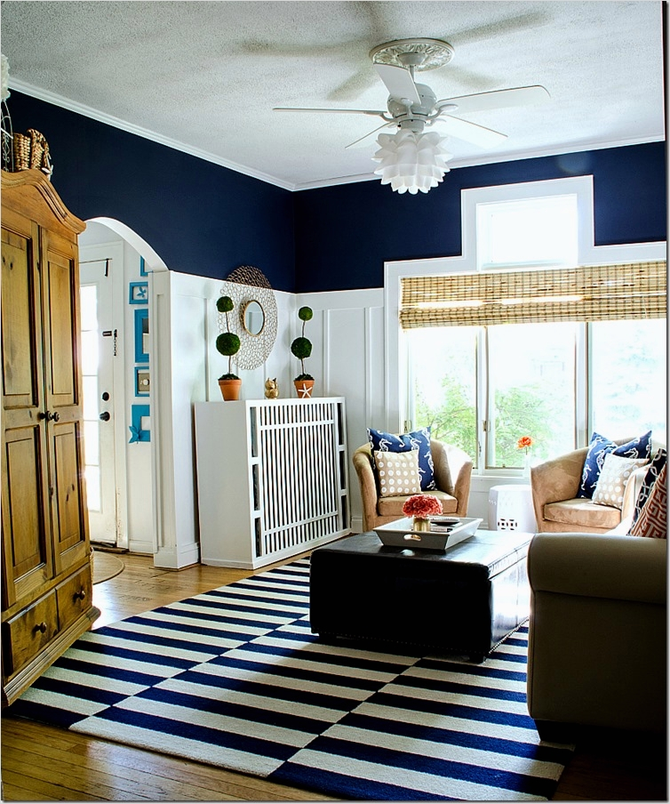41 Amazing Navy Blue and White Living Room 41 Navy and White Board & Batten Living Room Design 3
