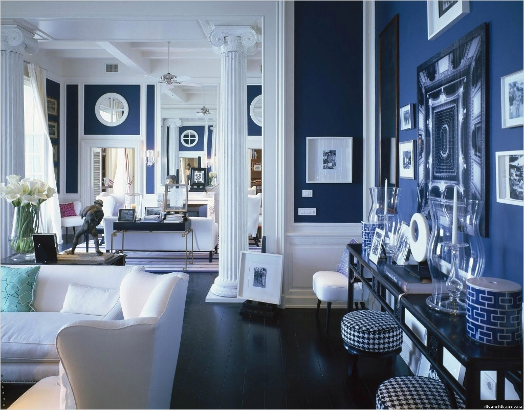 41 Amazing Navy Blue and White Living Room 43 European Living Room Design with White Pillar and Navy Blue Wall Color Pinkax 2