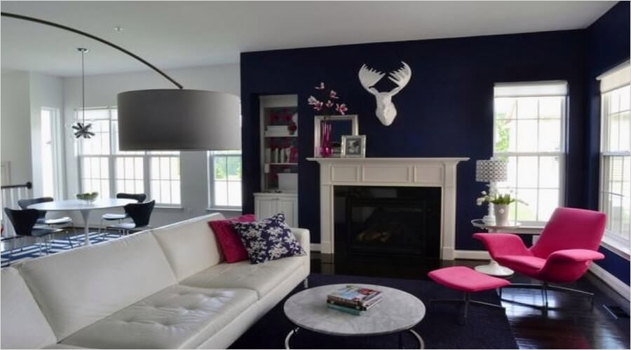 41 Amazing Navy Blue and White Living Room 17 10 Captivating Interior Design Ideas with Fuchsia Accents Interior Idea 7
