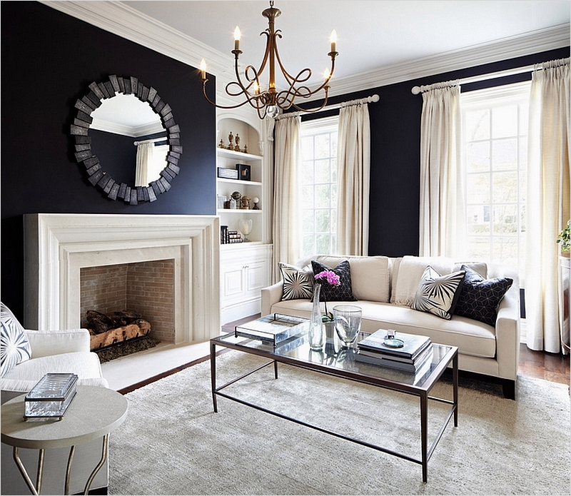 41 Amazing Navy Blue and White Living Room 13 Black and White Living Rooms Design Ideas 4