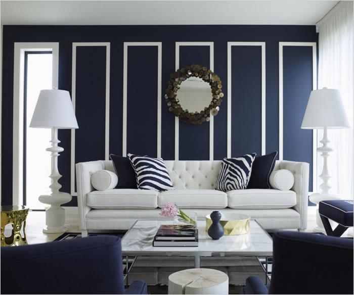 41 Amazing Navy Blue and White Living Room 34 Great Wall Chic Room Navy S Got Class 2