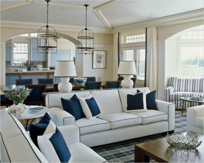 41 Amazing Navy Blue and White Living Room 15 Inspirations On the Horizon Coastal Rooms with Nautical Elements 6