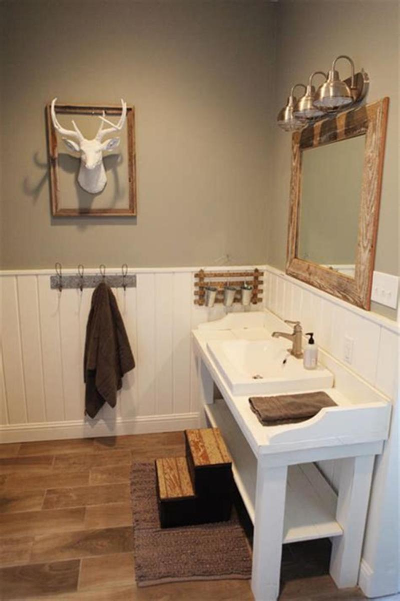 35 Cheap Country Rustic Farmhouse Bathroom Vanities Ideas 32