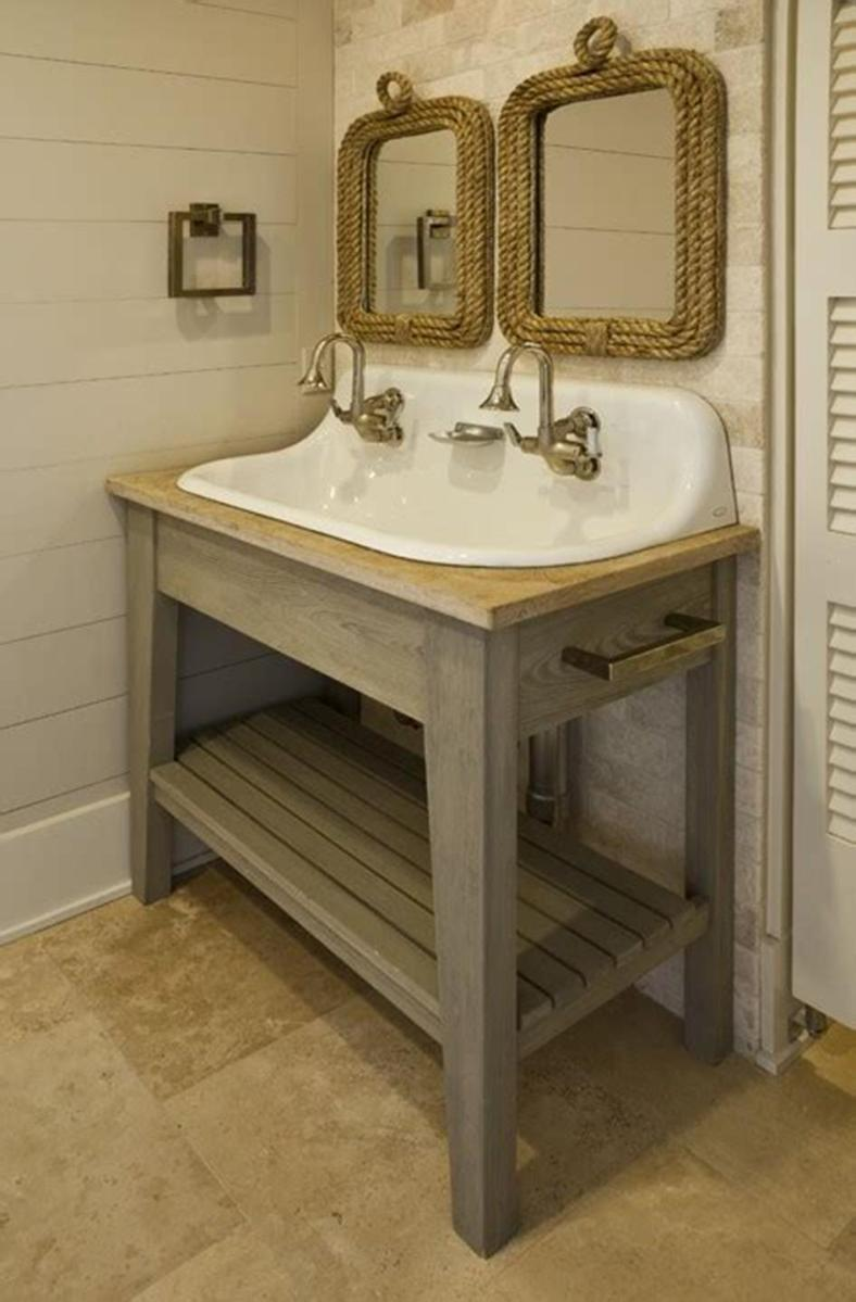 35 Cheap Country Rustic Farmhouse Bathroom Vanities Ideas 40