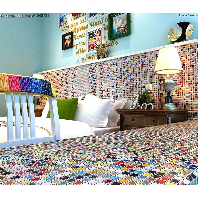 muti color ceramic mosaic tiles kitchen backsplash children kids room design candy wall tile
