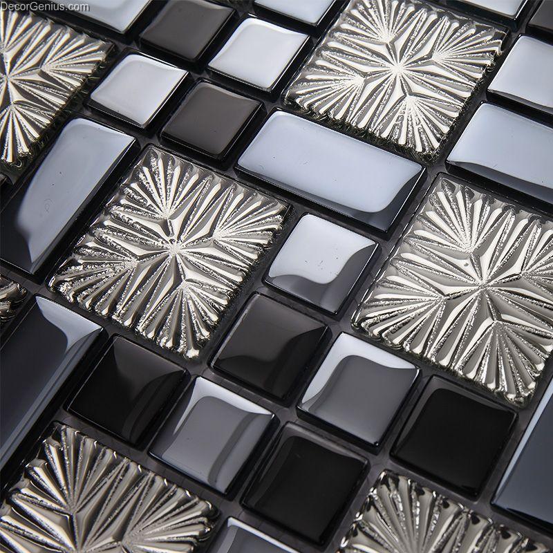 galvanized 3d glass discount backsplash kitchen mosaic tile