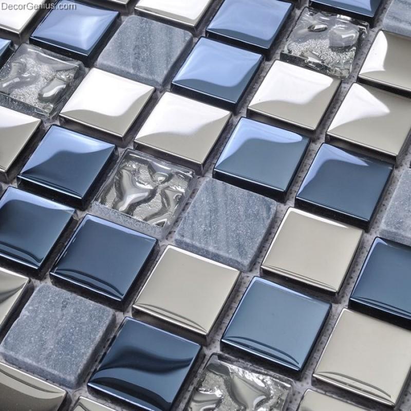 blue silver wall tile blend metal and glass stainless steel mosaic floor backsplash kitchen tiles
