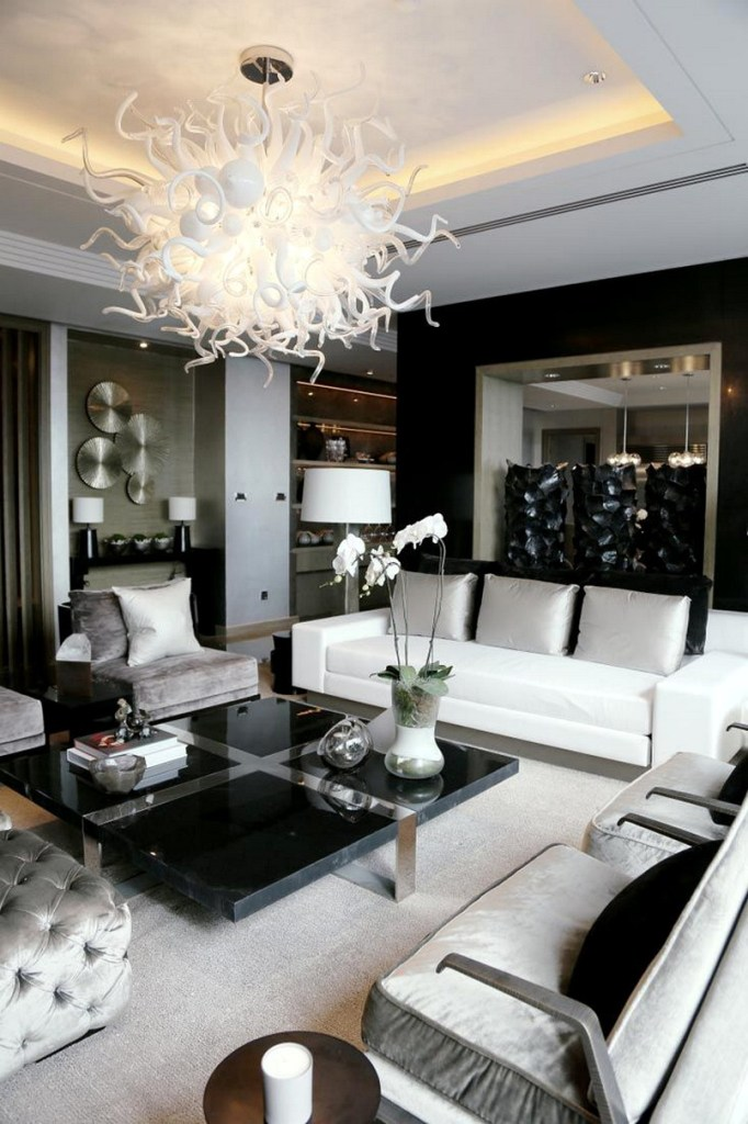 Elegance Room In Black, White & Silver