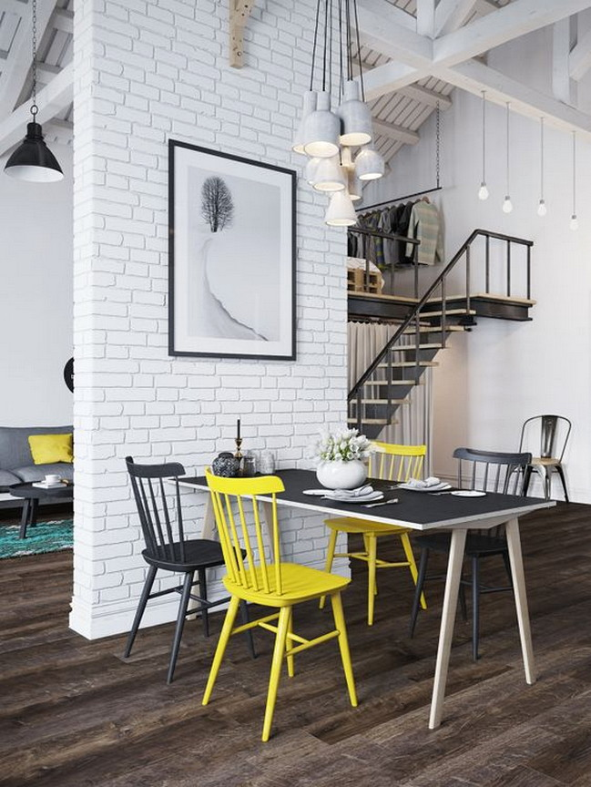 Modern White Brick Loft Feature