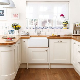 Cream Kitchen Cabinets With Wood Countertops