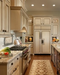 Kitchen Cream Cabinets Wood Floors With Carpet