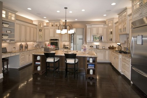 Luxury Cream Colored Kitchen Cabinet Doors WIth Dining Room
