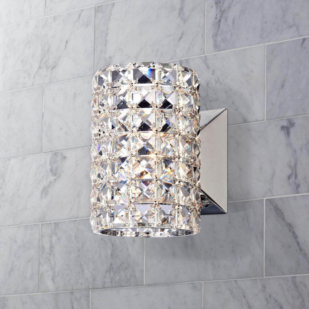 Crystal Cylinder Wall Sconce - Crystal Bathroom Lighting ... on Crystal Bathroom Sconces id=23681