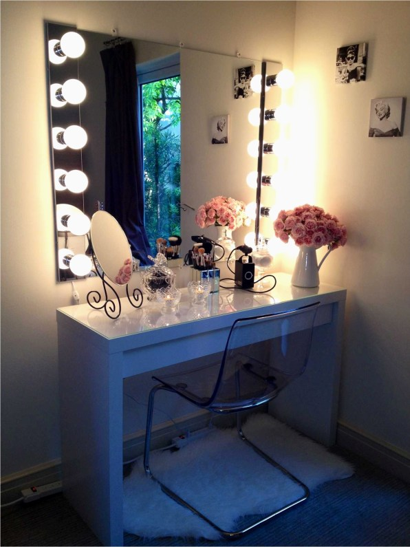 Simple Makeup Vanity with Lights