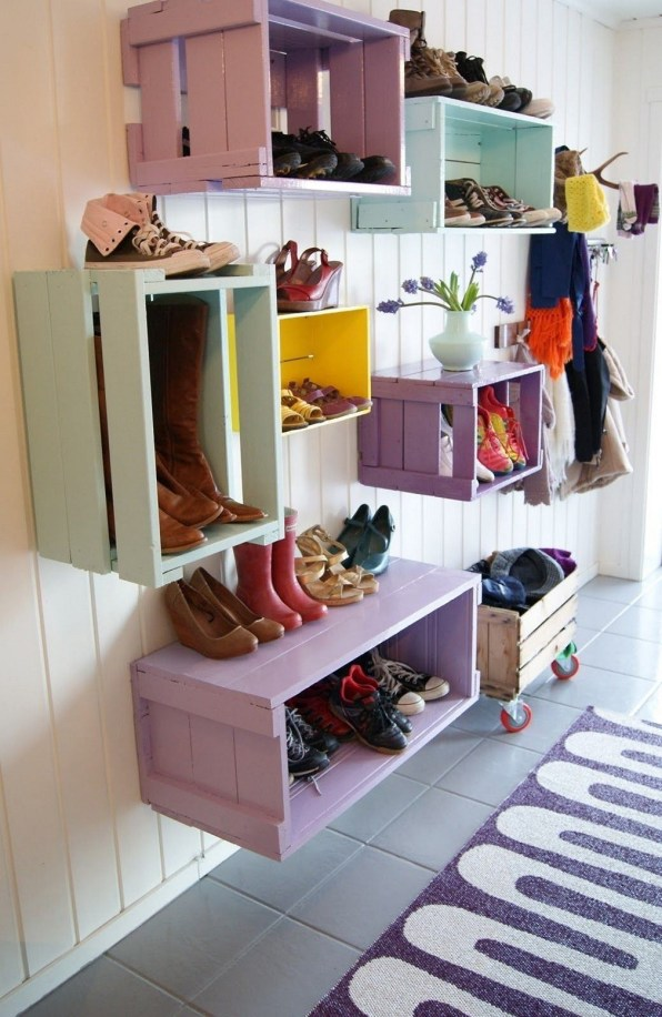Colorful Repurposed Shoe Rack