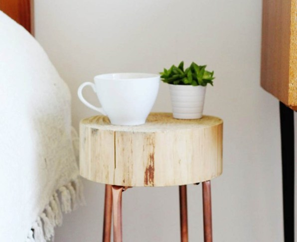 Copper Pipe + Wood Slice Side Table