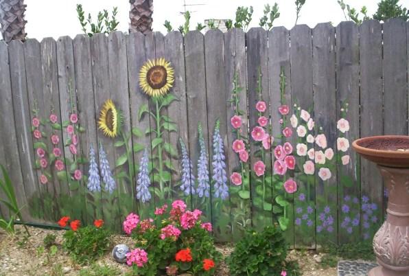 Flower Mural Fence Ideas