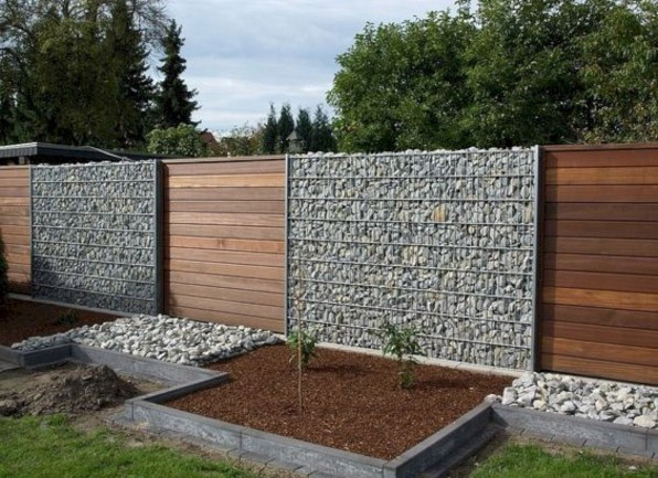 Wood and Stones Fence Ideas