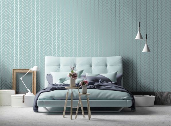 Bedroom Wall with Beautiful Wallpaper