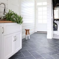 A Neutral Perspective on Herringbone Tile Floor Bathroom White