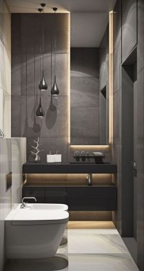 41 + Types Of Guest Bathroom Ideas Half Baths Floating Shelves 20