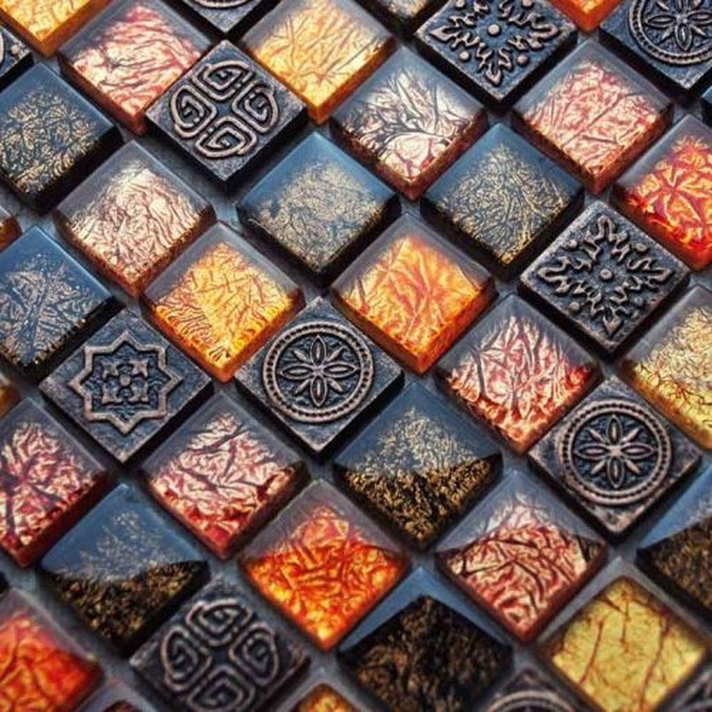 Superb Glitter Kitchen Tiles Design Ideas To Try Nowaday 28