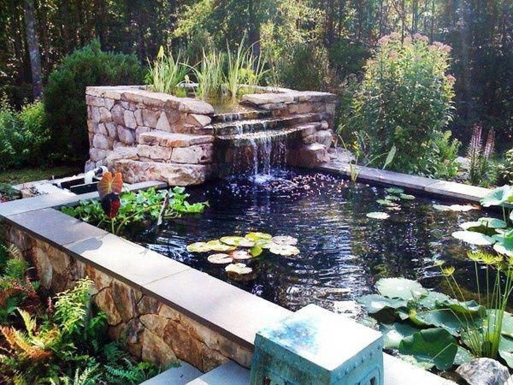 Creative Backyard Ponds Ideas With Waterfalls To Try 32