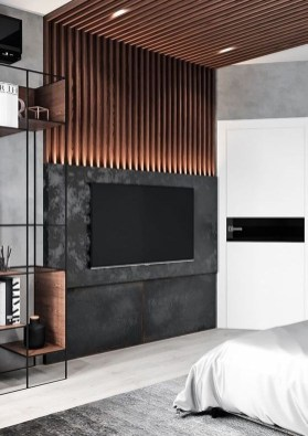 Enjoying Bedroom Design Ideas With Wall Tv To Try 08