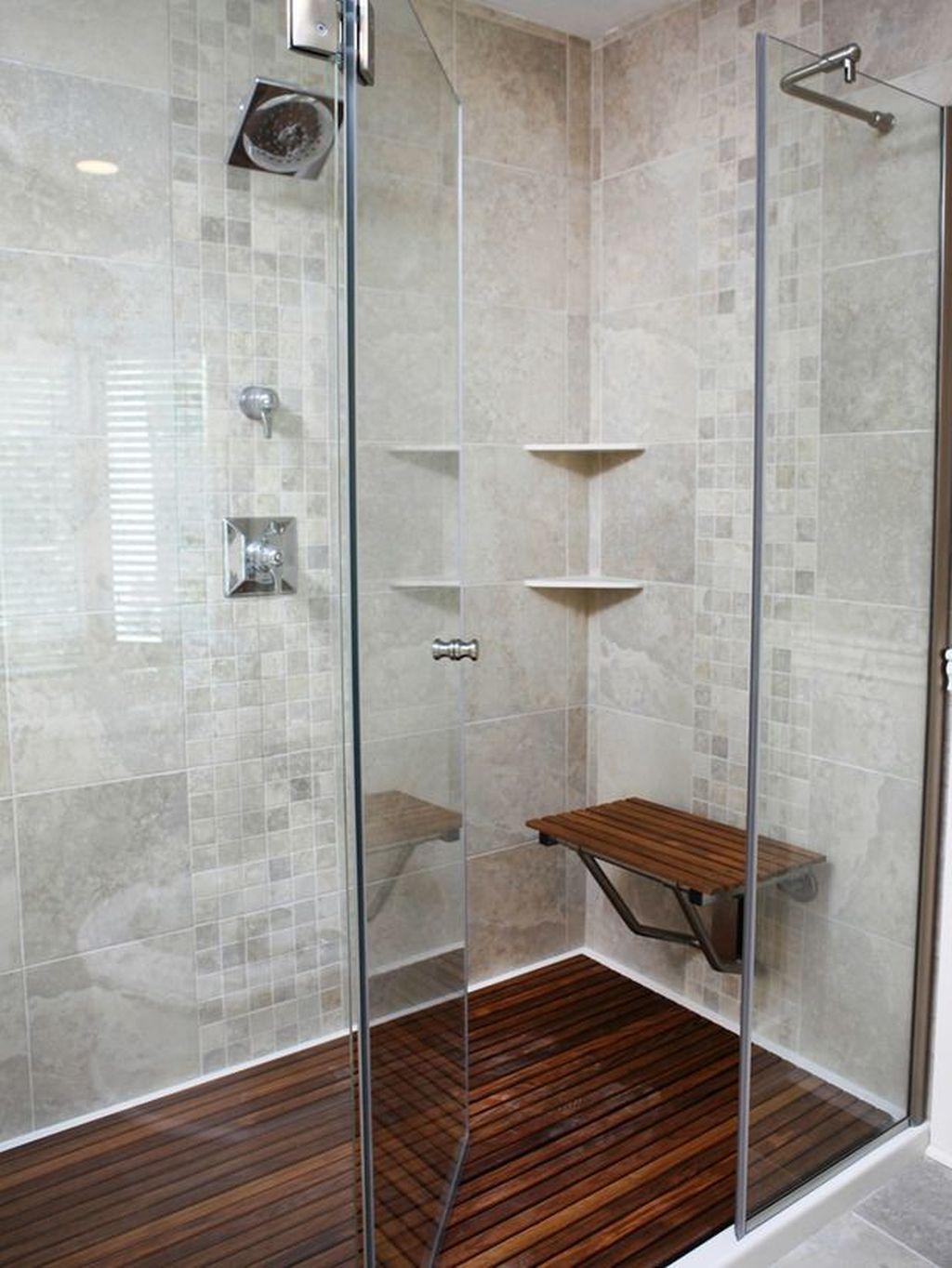 Marvelous Wooden Shower Floor Tiles Designs Ideas For Bathroom Remodel 08