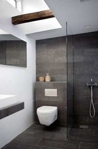 Fantastic Black Floor Tiles Design Ideas For Modern Bathroom 27