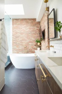 Fabulous Bathroom With Wall Brick Decoration Ideas To Try Asap 07