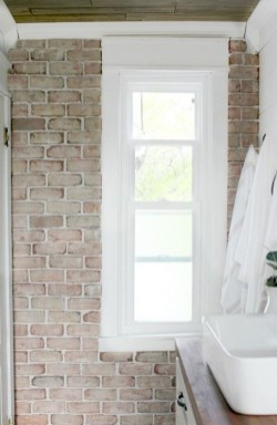 Fabulous Bathroom With Wall Brick Decoration Ideas To Try Asap 33