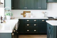 Green Kitchen Island White Cabinets