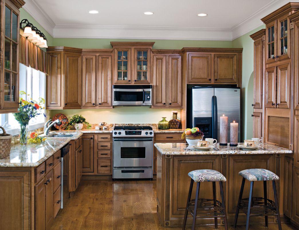 Medium Oak Cabinets With Black Hardware