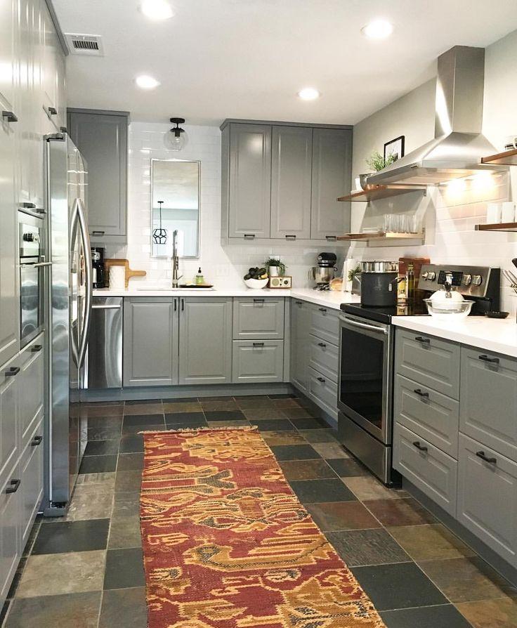 Modern White Kitchen With Black Hardware