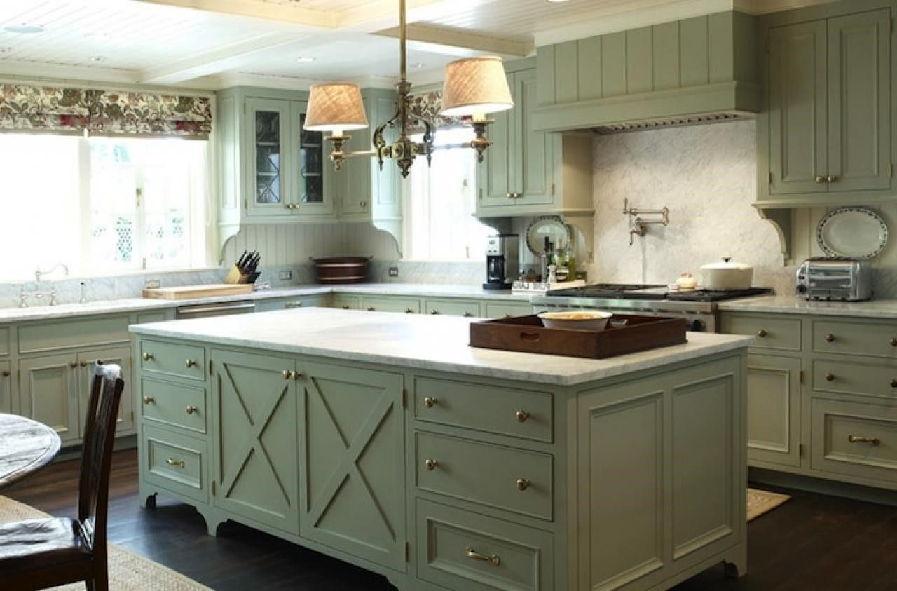 Olive Green Kitchen With White Cabinets
