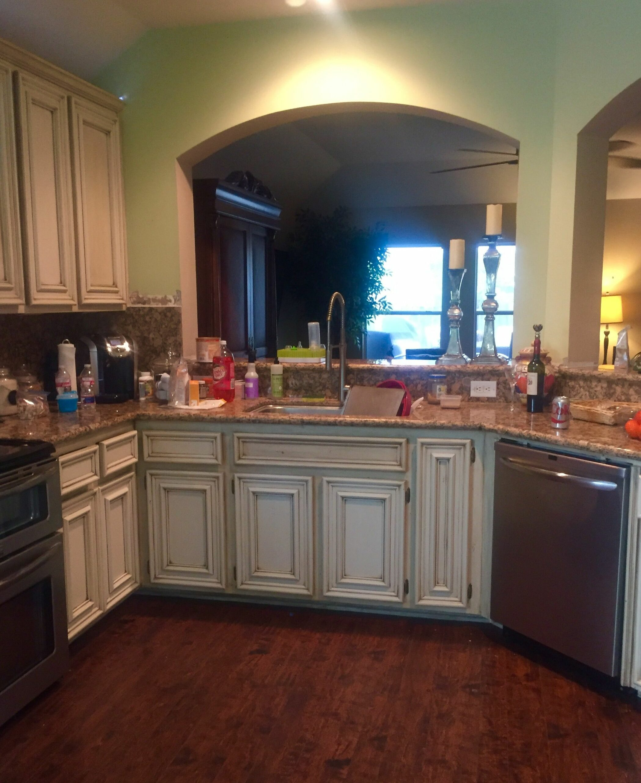 Pickled Oak Cabinets Painted White