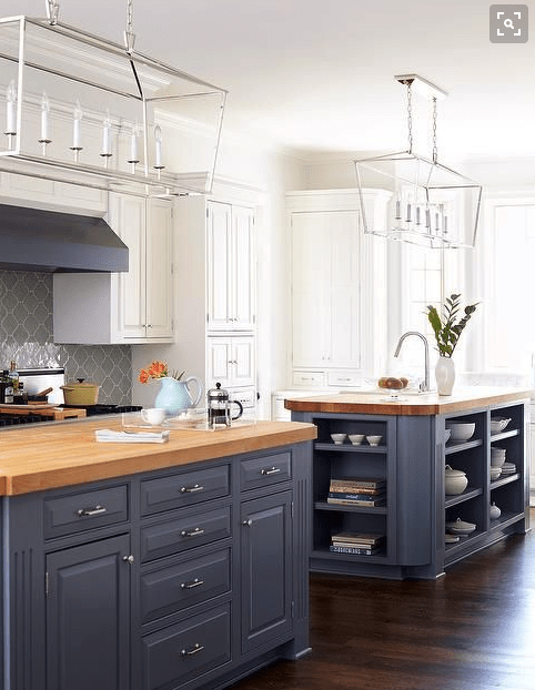 Blue Kitchen Cabinets With Butcher Block Countertops